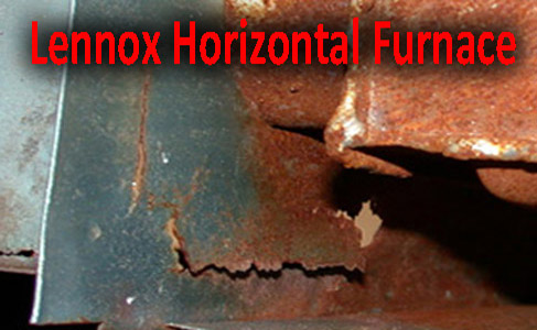 Old rusty cracked firebox on a Lennox furnace, gas heating for home. Home cooling systems and central heating system problems are a thing of the past along with the best central air conditioning prices.