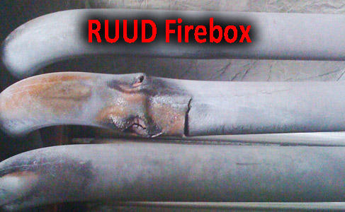 Cracked firebox on a RUUD furnace, cracked RUUD heat exchanger. Cracked tube type heat exchanger on a forced air furnace. The place to find new forced furnace prices and new home heating system prices is here.