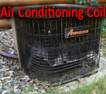 Central air conditioning repairs and tune ups require examination of the outdoor coil. This one is destroyed. Heat pump.